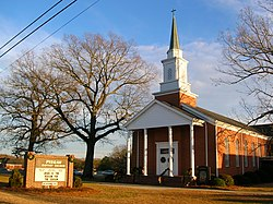 Pisgah Baptist Church in Four Oaks, North Carolina. The Bible Belt is well known for its large devout Protestant Christian population.