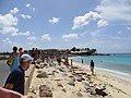 Plane watchers, Maho Beach, St Maarten, Oct 2014 (15658529535).jpg