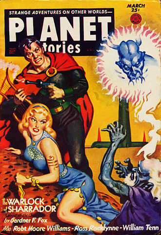 "Gardner Fox - Fox's novella ""The Warlock of Sharrador"" was cover-featured on the March 1953 issue of Planet Stories"