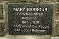 Plaque on Mary Barbour Cairn - Kilbarchan.JPG