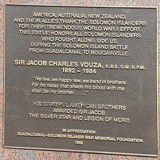 Jacob C. Vouza - Image: Plaque on the Sir Jacob Vouza memorial at Rove, Honiara Solomon Islands 1989 thanks