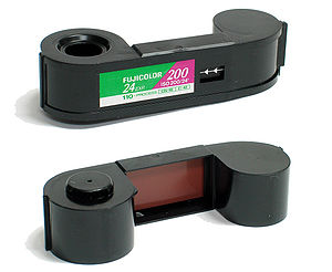 110 film - 110 film cartridge (shown from front and from rear.)