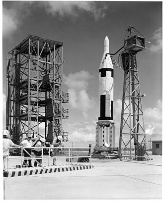 UGM-27 Polaris - Polaris A-1 on launch pad in Cape Canaveral