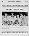 Policewoman Eileen O'Donnell is pictured left and stands with three debutantes before they are presented to his Excellency the Governor Sir Leslie Wilson, at the first Queensland Police Ball, August 1, 1934.jpg