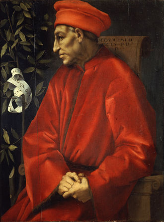 Cosimo de' Medici - Portrait by Jacopo Pontormo; the laurel branch (il Broncone) was a symbol used also by his heirs