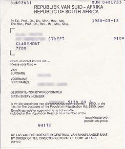 Population registration certificate South Africa 1988