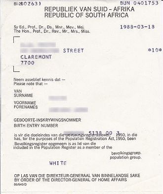 Population Registration Act, 1950 - Race classification certificate issued in terms of the Population Registration Act