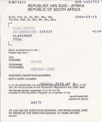 White privilege - Registration certificate identifies a person as white