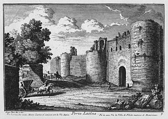 Porta Latina - The Porta Latina in an 18th-century etching by Giuseppe Vasi.