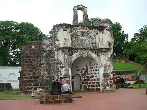 Capture of Malacca (1511) - The surviving gate of the A Famosa Portuguese fort in Malacca.