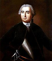 A half-length portrait of a man dressed mainly in black, but also wearing a metal breastplate, against a dark brown background. He is wearing a powdered wig.