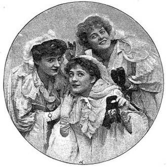 Louie Pounds - Pounds (left) with Kate Cutler and Marie Studholme in A Gaiety Girl, 1894