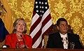 Presidente ecuatoriano, Rafael Correa recibe a la Secretaria de Estado de EUA, Hillary Clinton en Carondelet (4684961189).jpg