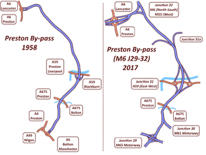 Preston By-pass - Preston by-pass route (left: 1958, right: 2017)