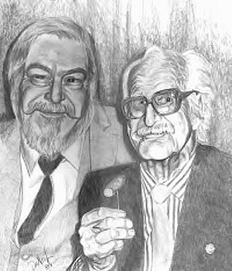 Dai Vernon - Portrait of Dai Vernon (right), along with Larry Jennings (left). Image drawn in 1989 by Sylvester the Jester