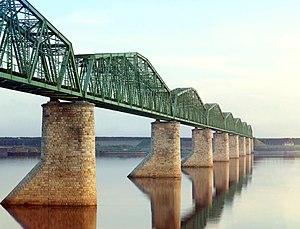 Eurasian Land Bridge - Railway bridge on the Trans-Siberian across the Kama River near Perm