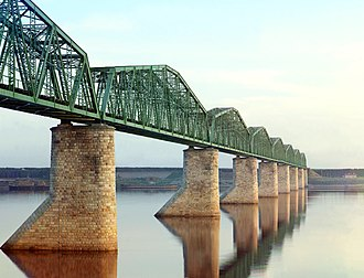 Eurasian Land Bridge - Railway bridge on the Trans-Siberian across the Kama River near Perm