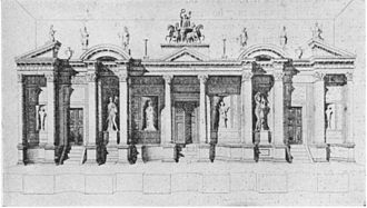 Templon - A Greek scaenae frons (theater screen) portraying a three-doored temple facade, posited in the early 20th century as a possible origin for the design of the templon.