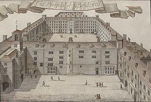 """Bridewell Palace - """"The Prospect of Bridewell"""" from John Strype's An Accurate Edition of Stow's """"A Survey of London"""" (1720)"""