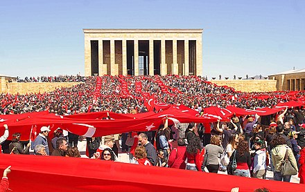 Anitkabir, the mausoleum of Mustafa Kemal Ataturk in Ankara, is visited by large crowds every year during national holidays such as Republic Day on October 29. Protect Your Republic Protest - 6 (2007-04-14) edit.jpg