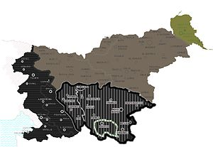 Slovene Partisans - During World War II, Nazi Germany and Hungary occupied northern areas (brown and dark green areas, respectively), while Fascist Italy occupied the vertically hashed black area (solid black western part being annexed by Italy already with the Treaty of Rapallo). After 1943, Germany took over the Italian occupational area, as well.