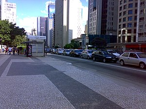 Portuguese pavement - Portuguese pavement in Paulista Avenue, São Paulo. This pavement is in danger of being replaced by ordinary pavement under Avenue reforms.