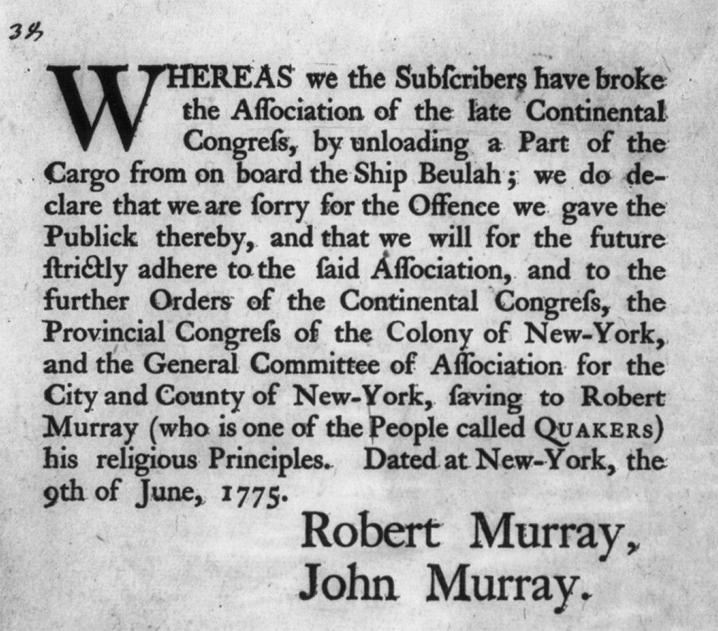 Public apology by Robt. & John Murray, NY, 1775 LCCN2002705582.jpg