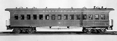 Pullman sleeping car, original to the William Crooks locomotive, on display in Duluth, Minnesota Pullman sleeping car circa 1860s.JPG