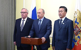Altai Republic - Alexander Berdnikov (left) with Vladimir Putin in September 2014