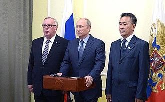 Altai Republic - Alexander Berdnikov (left) with Vladimir Putin in September 2014