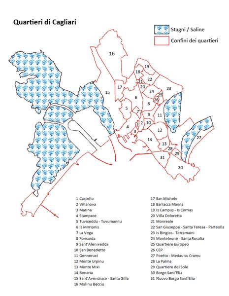 Cartina Geografica Di Cagliari.Quartieri Di Cagliari Wikipedia