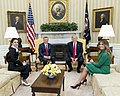 Queen Rania and King Abdullah II of Jordan, Donald and Melania Trump in the Oval Office, April 2017.jpg