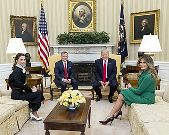 U.S. President Donald Trump and First Lady Melania Trump meet with King Abdullah II and Queen Rania of Jordan in Washington, D.C., 2017. Queen Rania and King Abdullah II of Jordan, Donald and Melania Trump in the Oval Office, April 2017.jpg