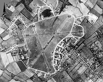 RAF Bovingdon - Aerial photograph of Bovingdon airfield looking north , the technical site with four T2 hangars is at the southeast of the airfield, the bomb dump is to the west, 13 March 1944