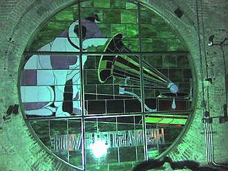 """Nipper - The Nipper stained glass atop the """"Nipper Building"""", the former RCA Building 17 in Camden, New Jersey. This photo, taken from inside the tower, shows the 2003 replacement of the 1979 replacement of the 1915 original glass"""