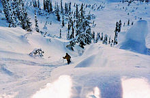 A skier in the Sawtooth Mountains