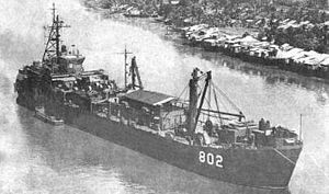 USS Satyr (ARL-23) - The ex-USS Satyr (ARL-23) in South Vietnamese service as RVNS Vinh Long (HQ 802).
