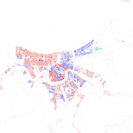 Map of racial distribution in New Orleans, 2010 U.S. Census. Each dot is 25 people: White, Black, Asian, Hispanic, or other (yellow) Race and ethnicity 2010- New Orleans (5560463750).png