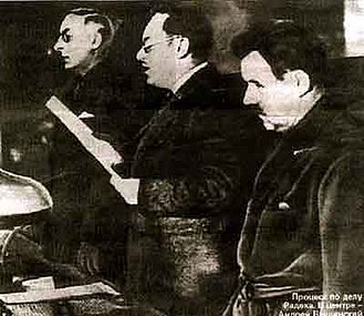Show trial - Prosecutor General Andrey Vyshinsky (centre), reading the 1937 indictment against Karl Radek during the 2nd Moscow Trial