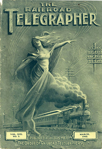 Order of Railroad Telegraphers - Cover of The Railroad Telegrapher, monthly magazine of the Order of Railroad Telegraphers, for March 1902.