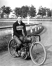Ralph Hepburn on his Harley racing bike in this 1919 photo.
