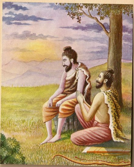 A depiction of Rama in the Ramayana. Worried about his wife Sita, he is consoled by his brother Lakshmana. Rama became very much worried about Sita. His brother Lakshmana consoled him.jpg