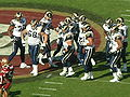Rams break huddle at St. Louis at SF 11-16-08.JPG