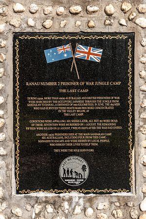 Last POW Camp Memorial - Inscription of the memorial stone in English.