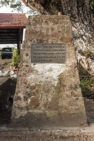 "Ranau District - ""These stones are witnesses of the oaths of loyalty to Government taken by Ranau natives after the Mat Salleh rebellion had been put down in January 1898."" —Ranau Loyalty Oath Stone"