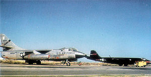 Spangdahlem Air Base - Douglas RB-66B-DL Destroyer Serial 54-0529 and Martin RB-57A-MA Serial 52-1454 of the 19th TRS (B-66) and 1st TRS (B-57), 1957.  529 eventually deployed to Korat Royal Thai Air Force Base during the Vietnam War.  It was destroyed on 23 December 1972 when due to engine failure, it crashed on landing killing its crew of three.   1454 was retired to AMARC in 1973 and scrapped in 1976.