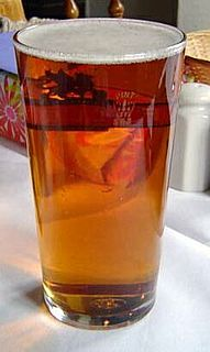 Ale type of beer brewed using a warm fermentation method