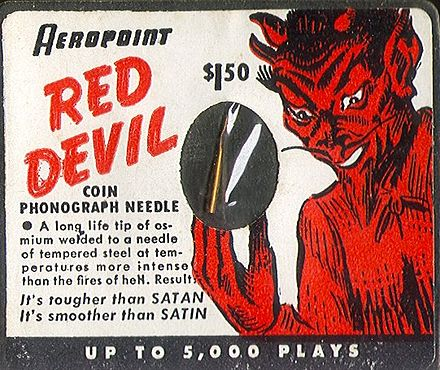 Stylus for jukebox using shellac 78 rpm records, 1940s RedDevilNeedle.jpg