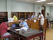 Reference desk at the UNC edit-a-thon, April 2013.jpg