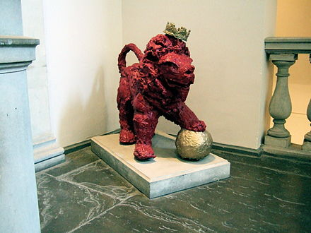 A papier-mache version of Reggie the Lion, the mascot of KCLSU, outside the Great Hall in King's Strand Campus Reggiethelion.jpg